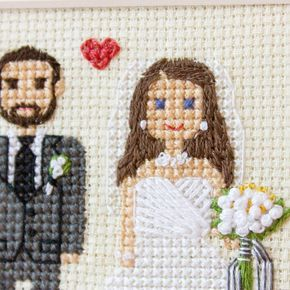"""Gefällt 183 Mal, 10 Kommentare - Cross stitch family portraits (@famolya) auf Instagram: """"Happy Friday, 13! And here is close up of the portrait from a post back.☺I love many details in…"""""""