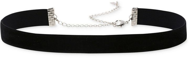 Silver-Tone Black Velvet Choker Necklace   A black velvet ribbon is paired with a silver-tone mixed metal chain on this distinctive choker necklace.   #jewelry #glam #beauty #fashion #style #chic #ootd #shop