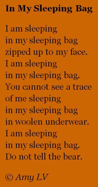 Poem for sleeping bag pattern - camping unit