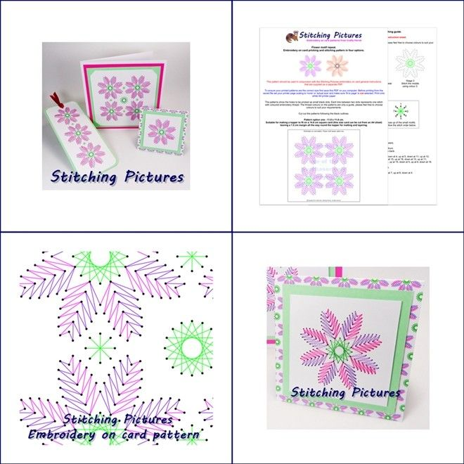 Create beautiful hand embroidered art work, greetings cards and bookmarks by stitching this geometric repeat flower pattern directly onto pricked card. Download instantly from https://payhip.com/b/8UGa