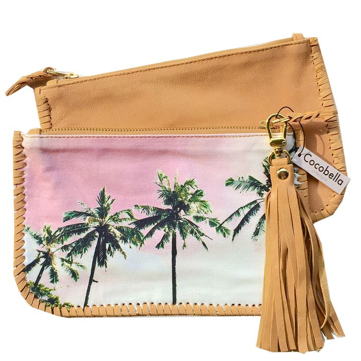 Cocobella La Lucciola canvas & leather clutch