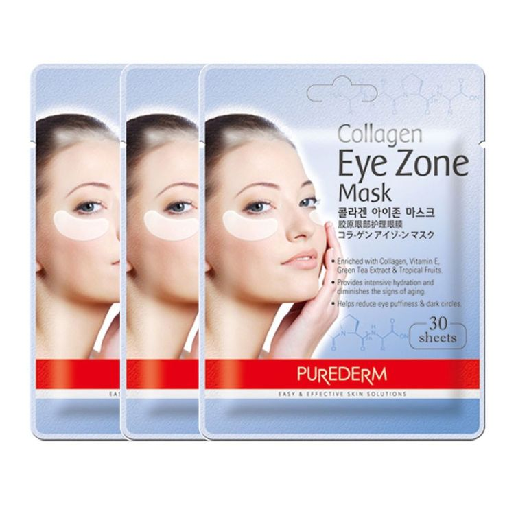 Korean Beauty Purederm Collagen Eye Zone Mask Sheet Masque Wrinkle Care 3 pack #KoreaBeautyPurederm