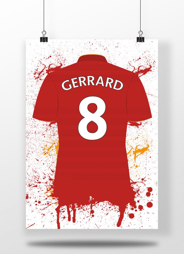 Steven Gerrard, Liverpool Fc Shirt, Premier League, Illustrated Print | Football, Sport, Wall Art, Mancave, Gifts, Home Decor (8x10,A4 & A3) by carlhughesdesign on Etsy https://www.etsy.com/uk/listing/526785259/steven-gerrard-liverpool-fc-shirt