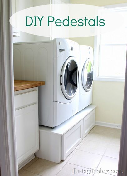 Build your own laundry pedestals with drawers: Idea, Diy Pedestal, Laundry Pedestal, Laundry Rooms Pedestal, Diy Laundry, Washer And Dryer, Diy Washer, House, Diy Projects