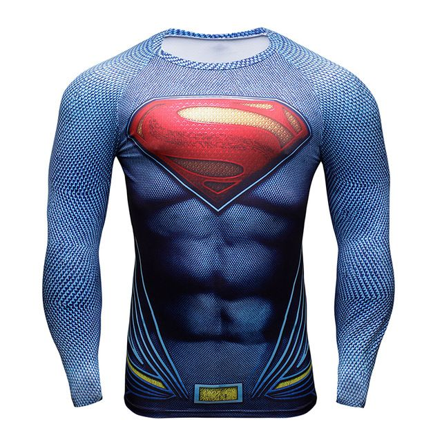 Para hombre Ropa de Deporte camiseta 3D Superman/Capitán América/Deadpool Manga Larga Camiseta de Los Hombres T Shirt 3D Crossfit Tops Camisetas
