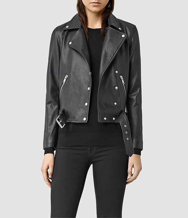 Womens Sidney Leather Biker Jacket (Black) - product_image_alt_text_1