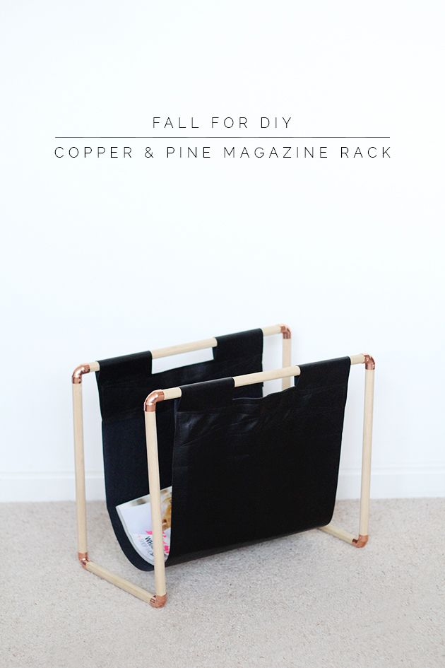 DIY Copper + Pine Magazine Rack - Fall For DIY