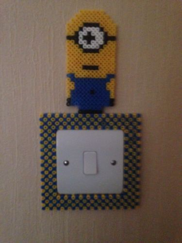 Minion Hama perler bead Light Switch Frame by playbunnie09