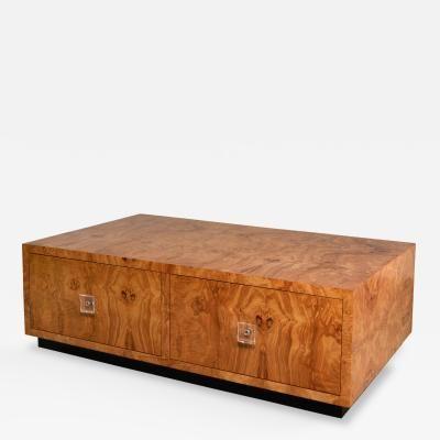 Milo Baughman Oilve Burlwood Table or Drawers by Milo  Baughman
