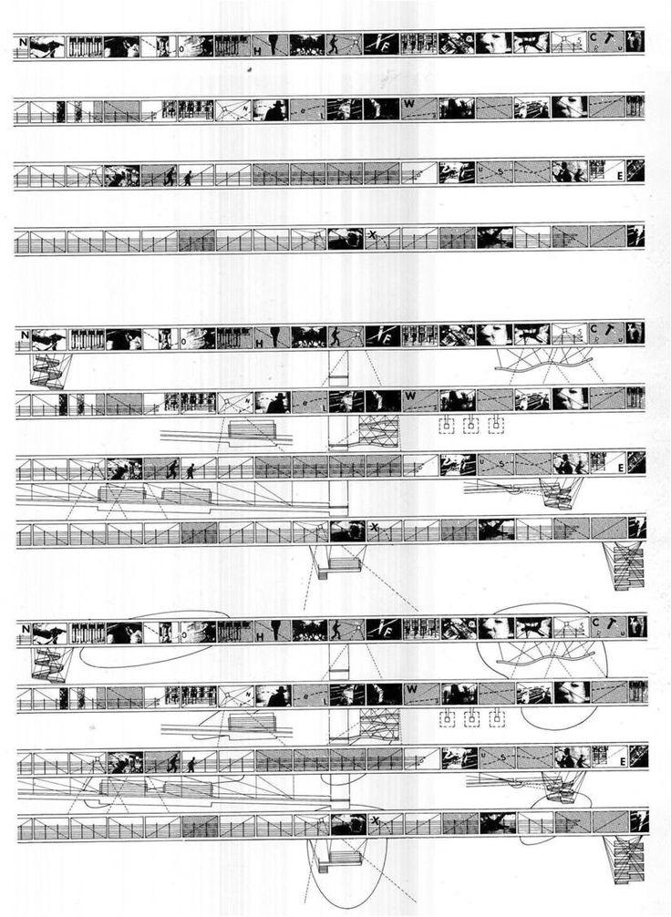 Le Fresnoy, Bernard Tschumi >> [ Bernard Tschumi tenía la intención de crear unos caminos elevados por los que el visitante experimentara una serie de sensaciones. De alguna manera el arquitecto pretende controlar todo aquello que el caminante ve en cada momento como si de una película se tratase. Le interesaba mucho el control de la luz cenital, es por eso que la cubierta tiene un seguido de aberturas, con tamaños diferentes, colocadas estratégicamente para iluminar solo en puntos…