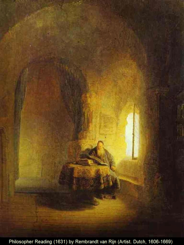PHILOSOPHER READING (1631) by REMBRANDT Harmenszoon van Rijn (Artist. Dutch, 1606-1669). Considered one of the greatest painters and printmakers in European art history and the most important in Dutch history. Dutch Golden Age painting. Nationalmuseum, Stockholm, Sweden. http://en.wikipedia.org/wiki/Rembrandt