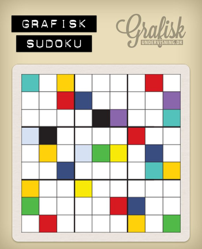 Vil du lege med? Så download, print og/leg med i Illustrator >Swatches >Art history > Popart. Hent alle 9 sudokus og løsningerne på http://www.grafiskundervisning.dk/grafisk-sudoku-su-ku-du-laere-det/