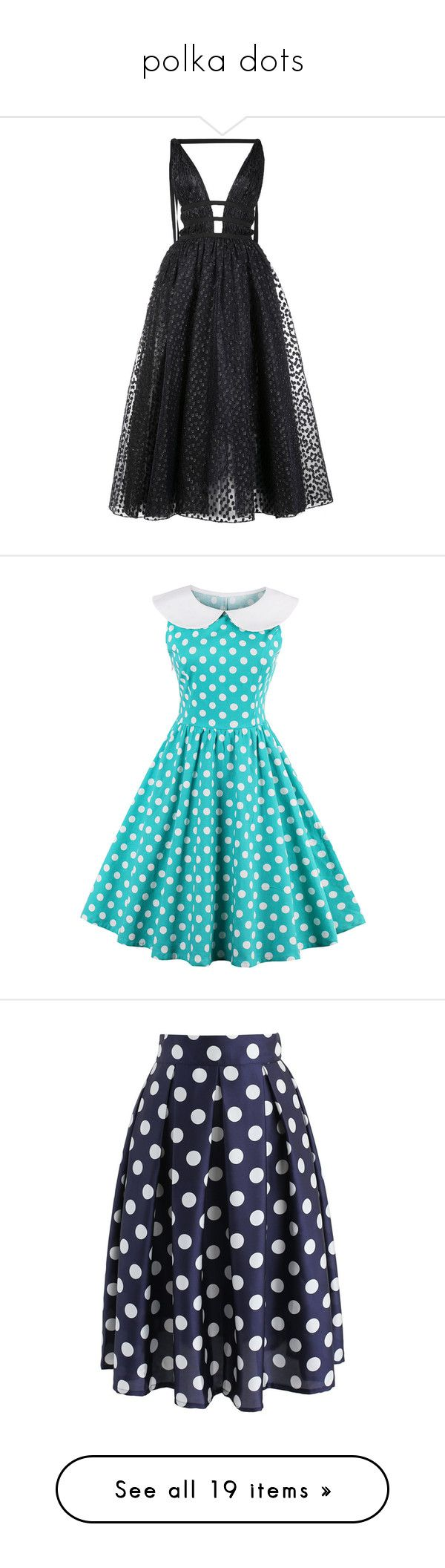 """polka dots"" by peeweevaaz ❤ liked on Polyvore featuring dresses, gowns, vestidos, long dresses, carolina herrera, black, open back long dresses, midi dresses, cutout dresses and sleeveless midi dress"