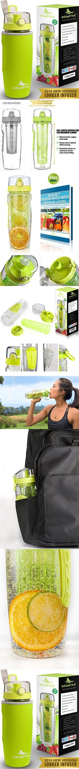Infuser Water Bottle with Full Length Infusion Rod and Insulating Sleeve + 25 Fruit Infused Water Recipes eBook Gift - Large 32 Oz Sport Bottle - Your Healthy Hydration Made Easy - Lemon GREEN
