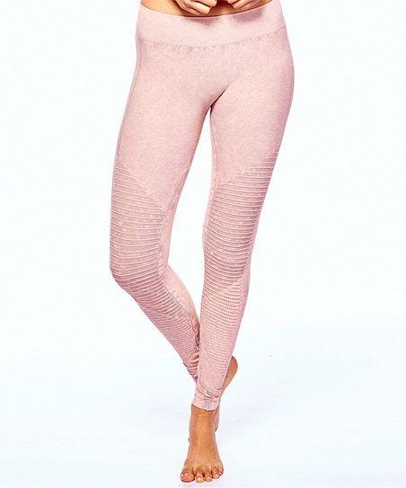 Light Pink Acid Wash Biker Leggings   zulily