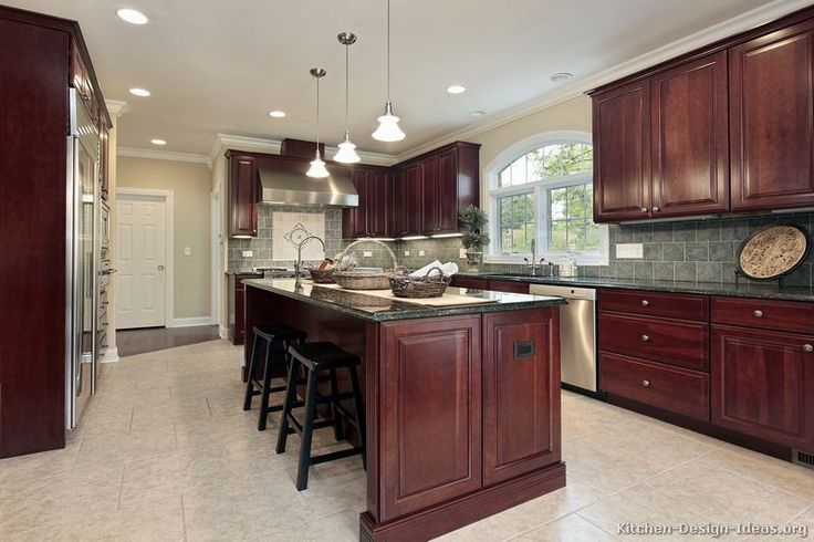 cherry kitchen cabinets photo gallery | ... of Kitchens - Traditional - Dark Wood, Cherry-Color (Kitchen #49