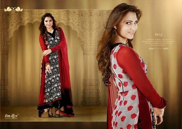 OFM-OMLARA-602 Ethnic Black Red & White Suit with Georgette Kameez-santoon Bottom & inner. Heavy Thread,Jari Work makes it more beautiful. Chiffon dupatta included.