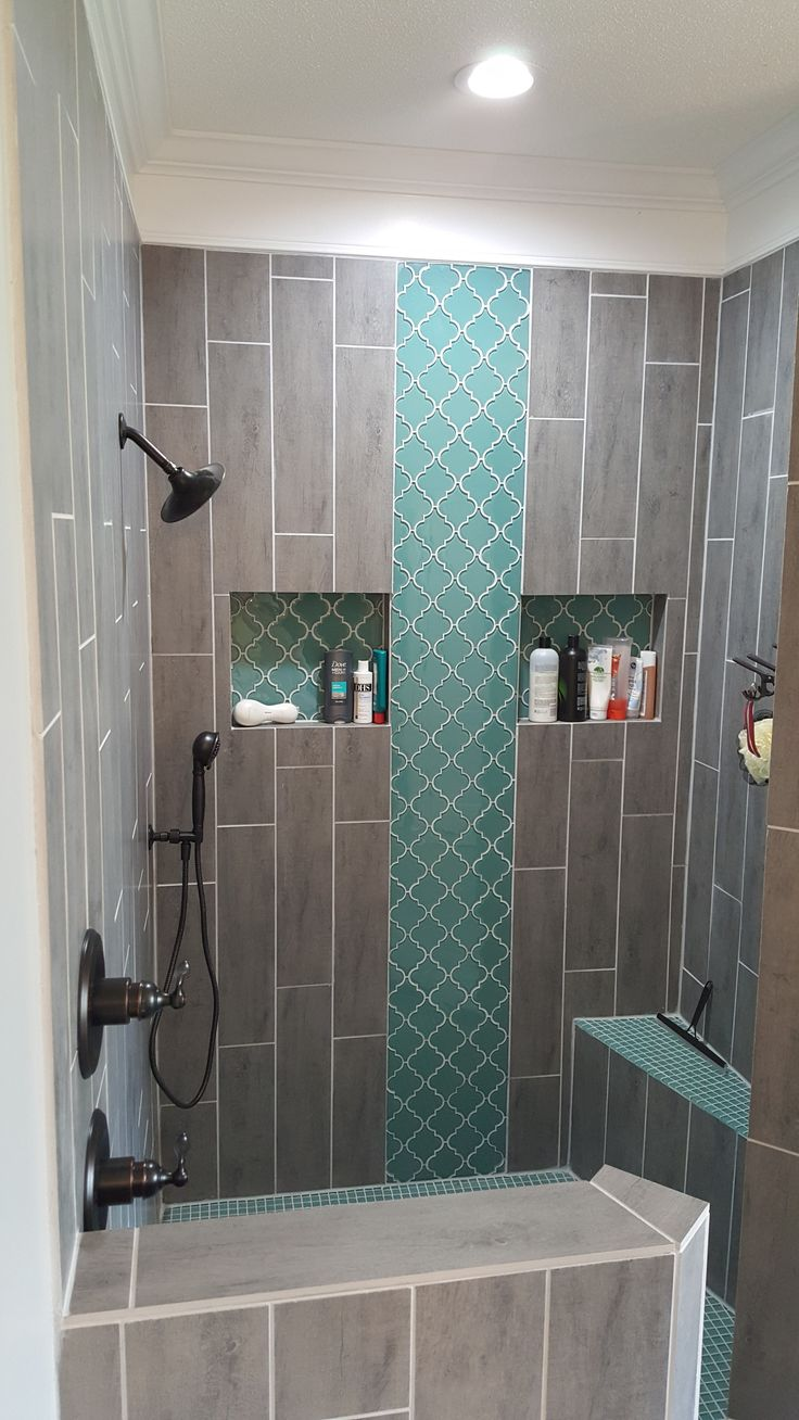 Teal arabesque tile accent teal shower floor grey wood for Bathroom ideas gray tile