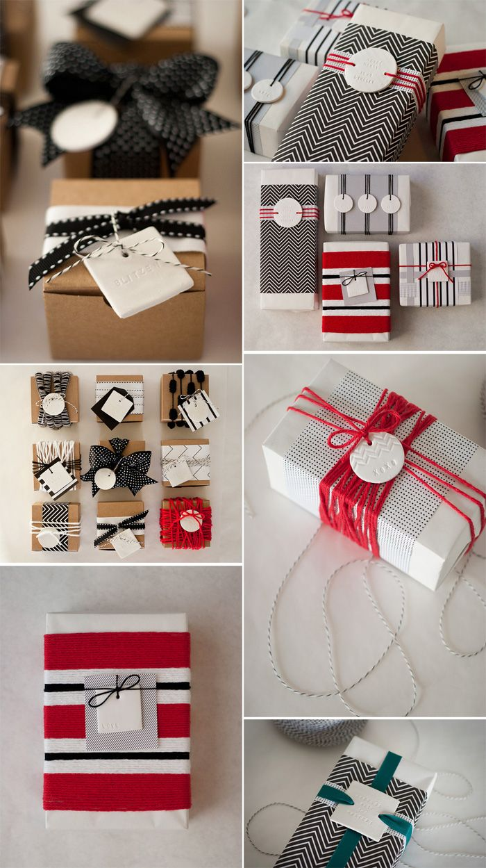 #giftwrapping ideas. I like how the gift tags are held in place with ribbon.