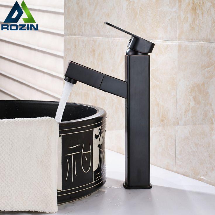 Blackened Bronze Square Washing Basin Faucet One Handle