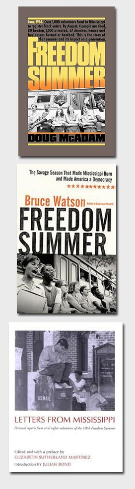 These stories link the Jewish American narrative to the African American efforts to stamp out discrimination in the 1964 Mississippi Freedom Summer:  Freedom Summer by Doug McAdam/Bruce Watson's 2010 book Freedom Summer: The Savage Season That Made Mississippi Burn and Made America a Democracy/Letters from Mississippi by Elizabeth Sutherland Martinez. These books are a window into the strength of inter-racial coalitions of the early-1960's and the idealists who participated.