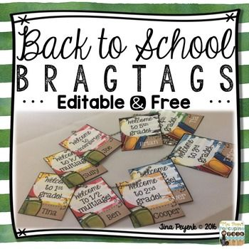 Editable: Welcome Back to School Brag Tags for K-5