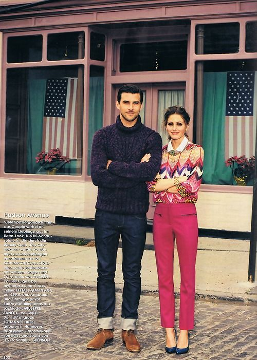 so much style.Cities Style, Pink Pink Pink, Johannes Huebl, Oliviapalermo, Pink Pants, Olivia Palermo, Spring Outfit, Stylish Couple, Men Outfit