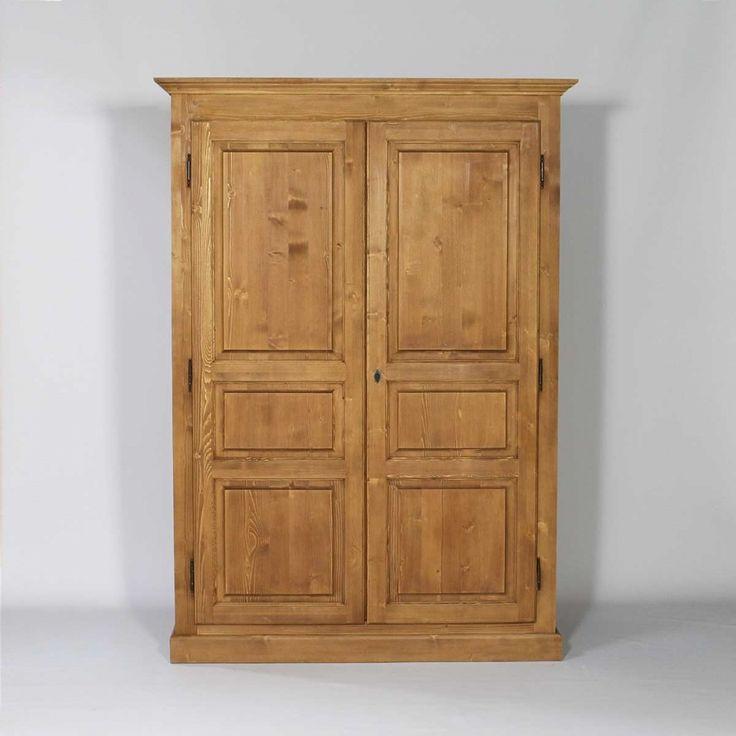 Armoire bois massif cir miel 2 portes 1 penderie armoires - Armoire penderie 1 porte ...