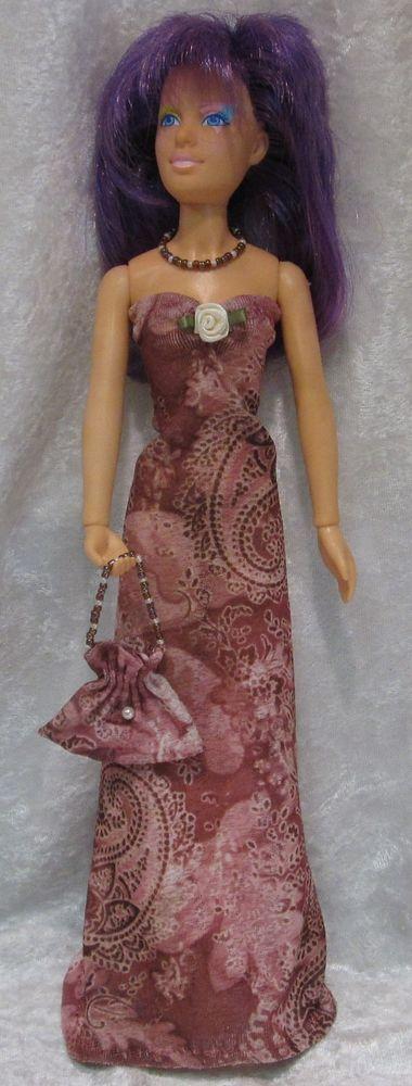 JEM, HOLOGRAMS, MISFITS Doll Clothes #50 Dress, Purse & Beaded Necklace Set #HandmadebyESCHdesigns