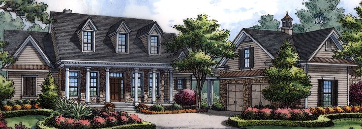 <ul><li>The columned entry invites you to the warmth of this country manor home plan. Note the detatched garage that is connected to the main house with a covered walkway. </li><li>The foyer opens to the office/den on the left, to the right is the dining room and straight ahead is the large family or great room complete with fireplace and high vaulted ceilings. Off of the family room is the open stairway to the second floor with two bedrooms and a loft that share a bath. </li><li>The…