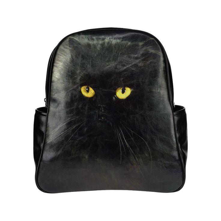 Black Cat Multi-Pockets Backpack (Model 1636)
