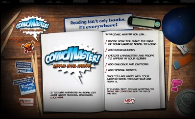 Comic Master is a really cool online comic creator; the interface is fun to use and very intuitive.  It is obviously geared toward students with a great look and even an embedded music player.