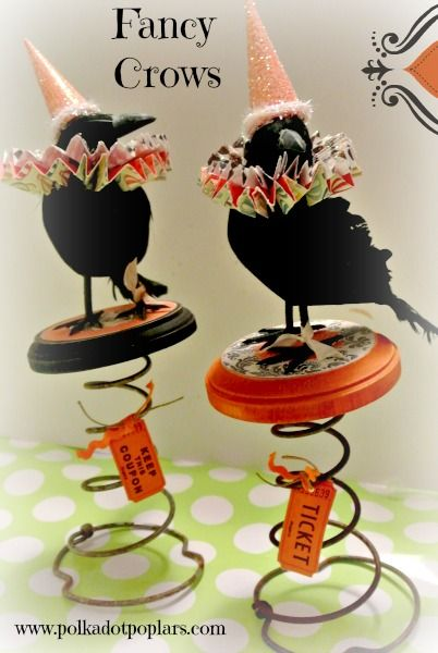 I've been seeing alot of crows and owl decor for Halloween and wanted to get in on the action. My local dollar store carries these cute crows and I also had these old bed springs I picked up at a ...