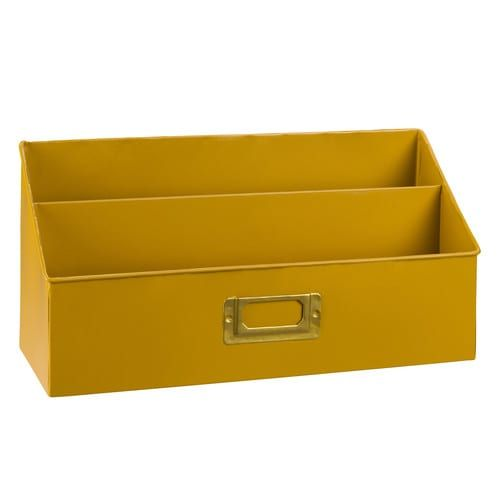 Porte-courrier en métal jaune moutarde