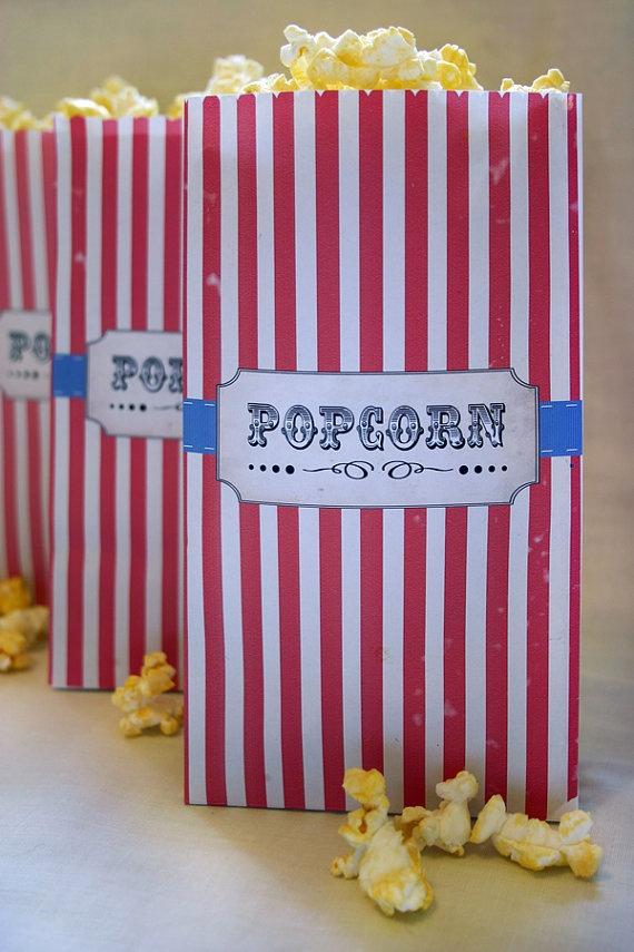 Vintage Circus Kids Party Popcorn Bag DIY PRINTABLE by Sassaby