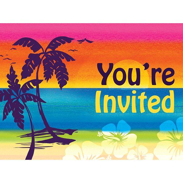 Aloha Summer Luau Invitations 8ct
