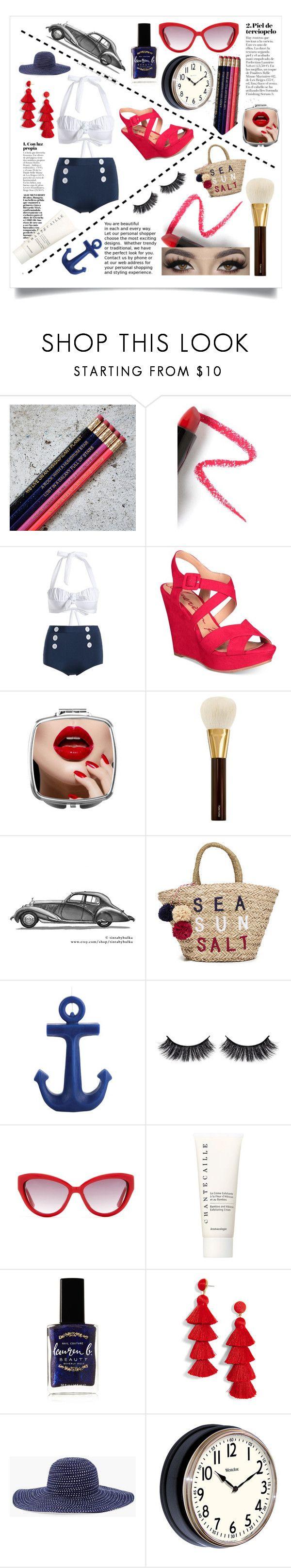 """Retro Beach Day"" by tialovespugs ❤ liked on Polyvore featuring Lapcos, American Rag Cie, Tom Ford, Sundry, Sunnylife, Battington, Moschino, Chantecaille, Lauren B. Beauty and BaubleBar"