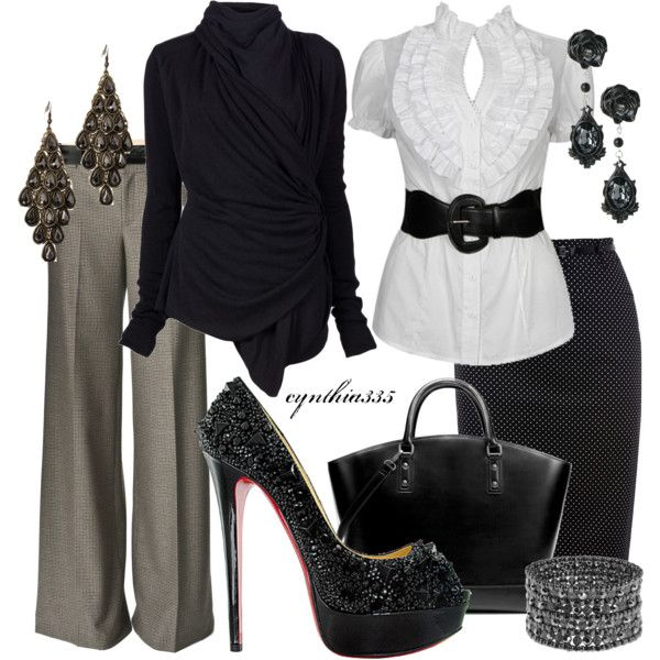 """""""Black Louboutin Shoes"""" by cynthia335 on Polyvore - I love the shoes, but maybe not for work."""