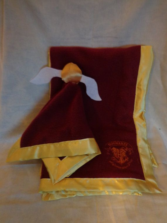 Hogwarts Gryffindor Baby Blanket and Matching Lovie with Snitch Topper on Etsy, $30.00