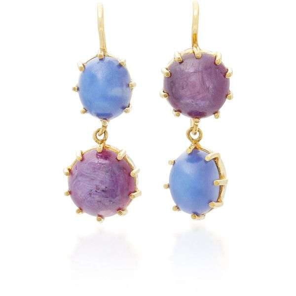 Renee Lewis 18K Gold Star Ruby and Sapphire Earrings (€5.915) ❤ liked on Polyvore featuring jewelry, earrings, purple, 18 karat gold earrings, gold ruby earrings, sapphire earrings, gold earrings and gold star earrings
