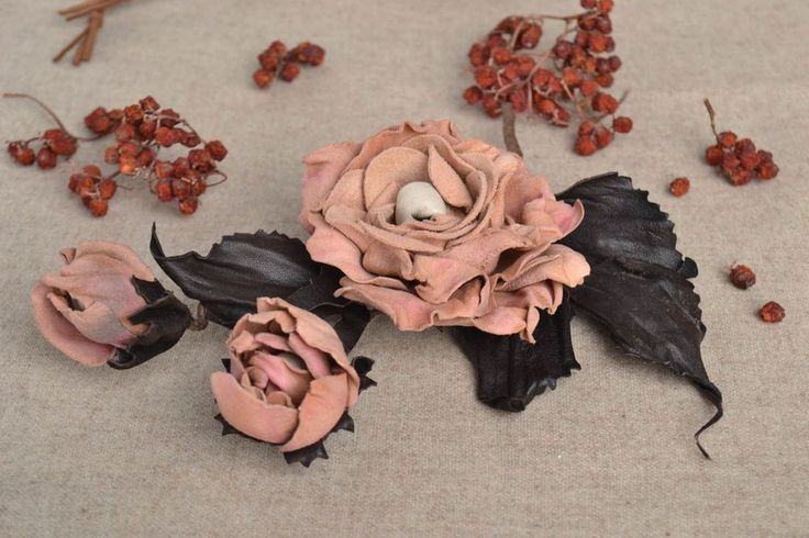 Handmade flower brooch unique leather jewelry unusual present for woman #Handmade