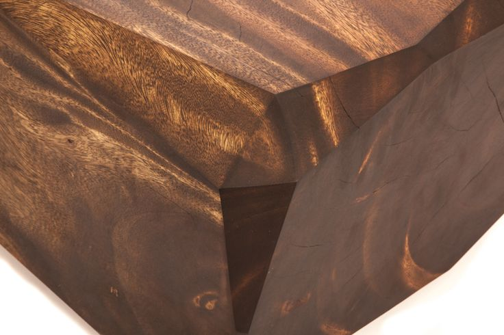 Multi-faceted solid wood piece using Suar wood with it's beautiful dual-toned texture: Kandeline Cube