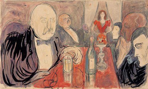 """""""Kristiania Boheme II"""" - 1895   Akvarell, gouache, blyant, tusj (pensel), 250x415mm, MM T2383  I """"Kristiania Boheme II"""" ser vi Munch ytterst til høyre. Han kom i kontakt med den såkalte Kristiania-bohemen, kretsen rundt Hans Jæger, på midten av 1880-tallet. Bohemmiljøet var en viktig impuls og inspirasjonskilde for Munch"""