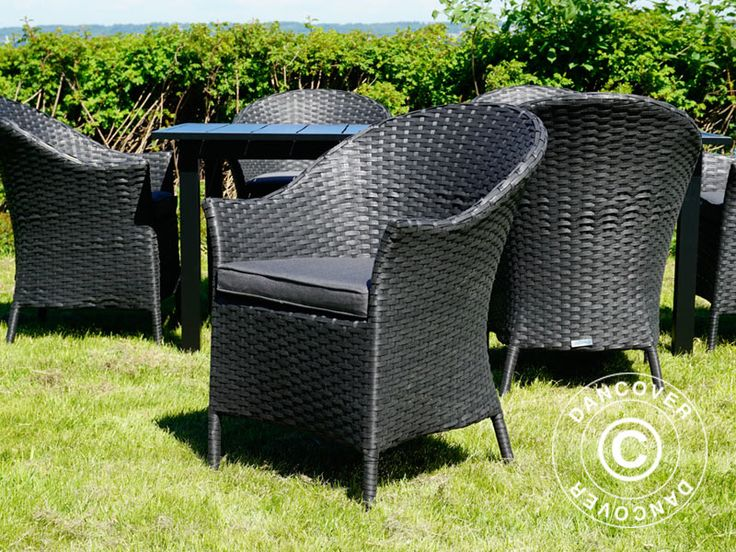 POLY RATTAN GARDEN CHAIR KEY WEST, 2 PCS., BLACK Garden chair in light, elegant and weatherproof materials. The comfortable garden chair is made of flat PE wicker, has armrests and a loose seat cushion.  #chair #decoration #partyessentials #accessories #inspiration