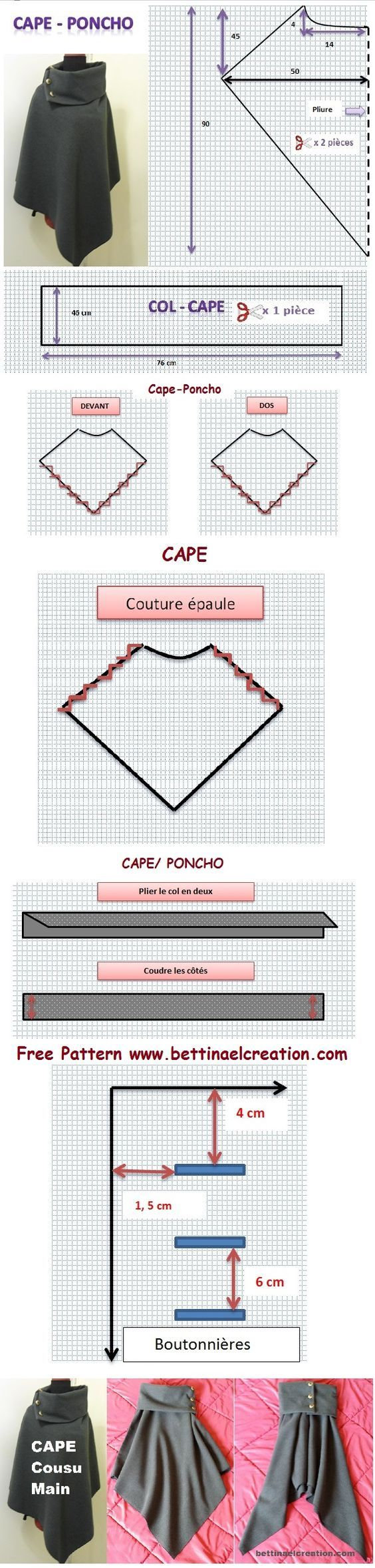 Tuto gratuit/ free pattern, couture/sewing, diy cape/ poncho: