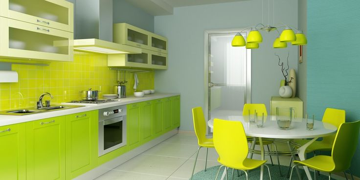 Irre Licht grün, moderne Küche mit gelben Lichtkabinen und kleine Restaurants Bereich