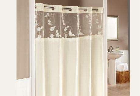 Hookless Serena Shower Curtains In Cream A Silky Fabric With Tonal Floral A