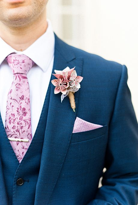 Brides: Paper Flowers Boutonniere. Up for a DIY project? Fashion these stylish paper-flower boutonnieres using origami paper in your wedding's color scheme.