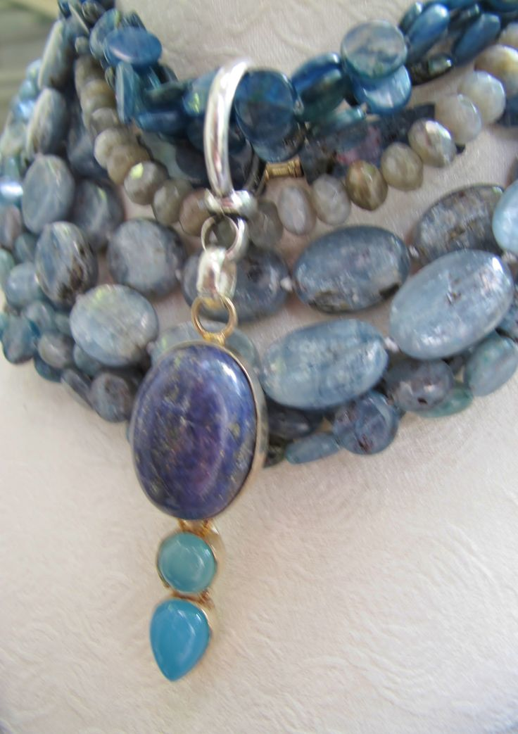 Kyanite, lapis, labradorite and quartz necklace.  Sold at Artwear Jordaan.