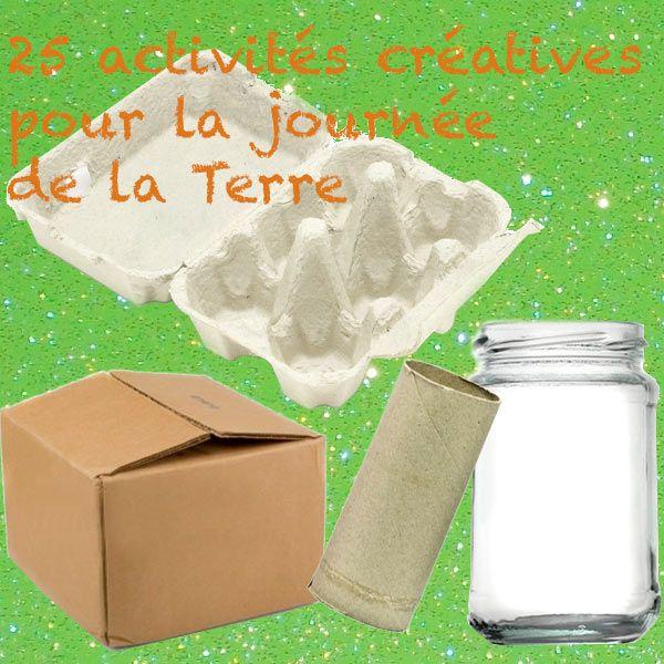 La Journée de la Terre est le 22 avril. Pour l'occasion, ressortez vos fournitures recyclées (papier, pots de yaourt, tubes de papier toilette...) et regardez dans la liste ce que vous pouvez faire avec vos enfants (ou bien faire faire en fonction de leur âge). J'ai classé les activités en fonction du matériel nécessaire. Avec des tubes en carton (de papier toilette, ou de rouleau de papier cadeau): 1. un bâton de pluie - c'est très approprié pour une journée de la Terre. 2. des jumelles…